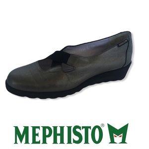 Mephisto Grey Leather Wedges Slip on Shoes 7.5